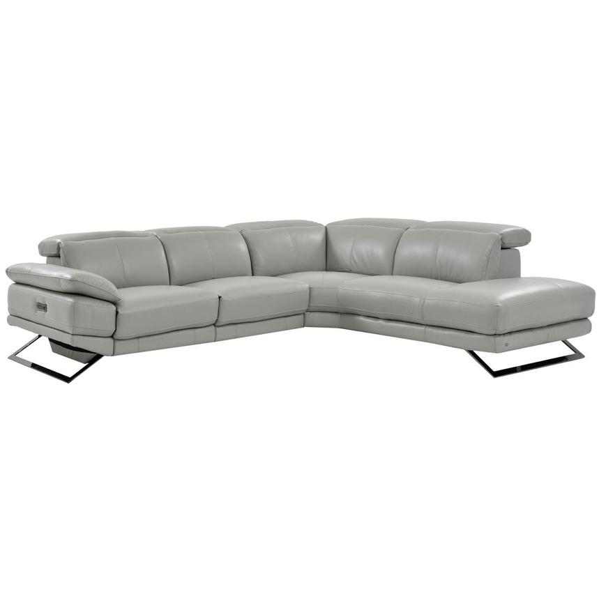 Pleasing Toronto Light Gray Leather Power Reclining Sofa W Right Chaise Dailytribune Chair Design For Home Dailytribuneorg