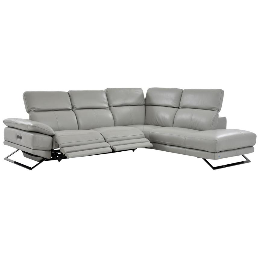 Toronto Light Gray Power Motion Leather Sofa w/Right Chaise  alternate image, 2 of 7 images.