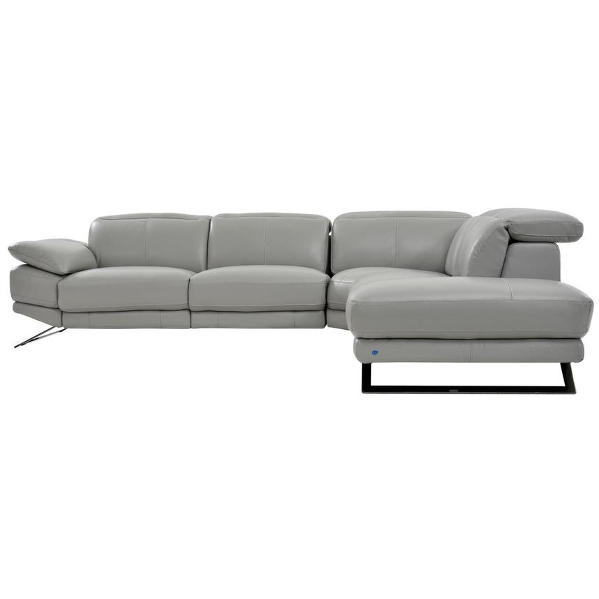 Toronto Light Gray Leather Power Reclining Sofa w/Right Chaise  alternate image, 3 of 7 images.