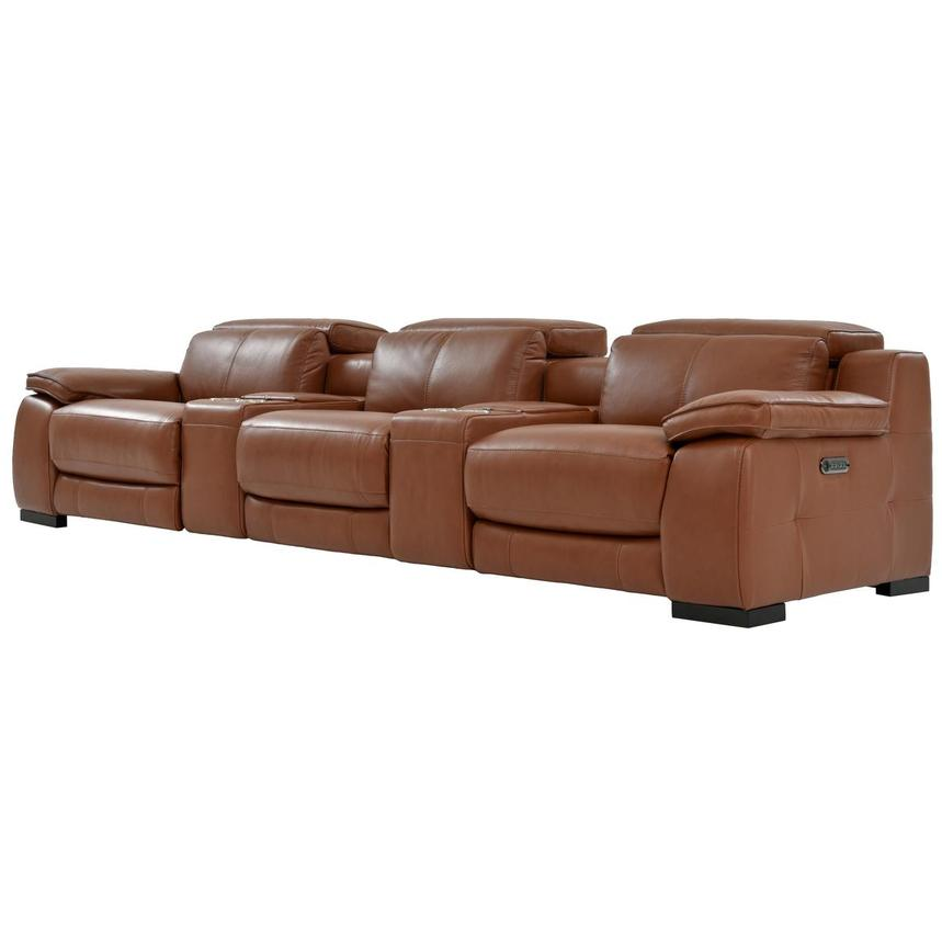 Gian Marco Tan Home Theater Leather Seating  alternate image, 2 of 10 images.