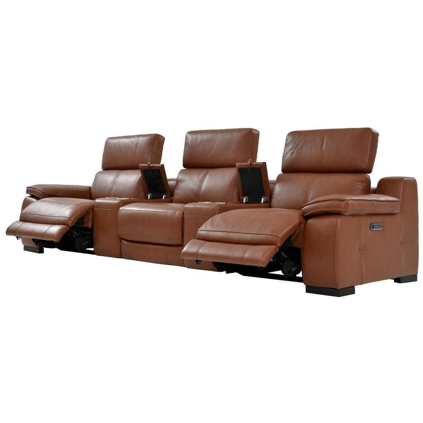 Gian Marco Tan Home Theater Leather Seating  alternate image, 3 of 9 images.