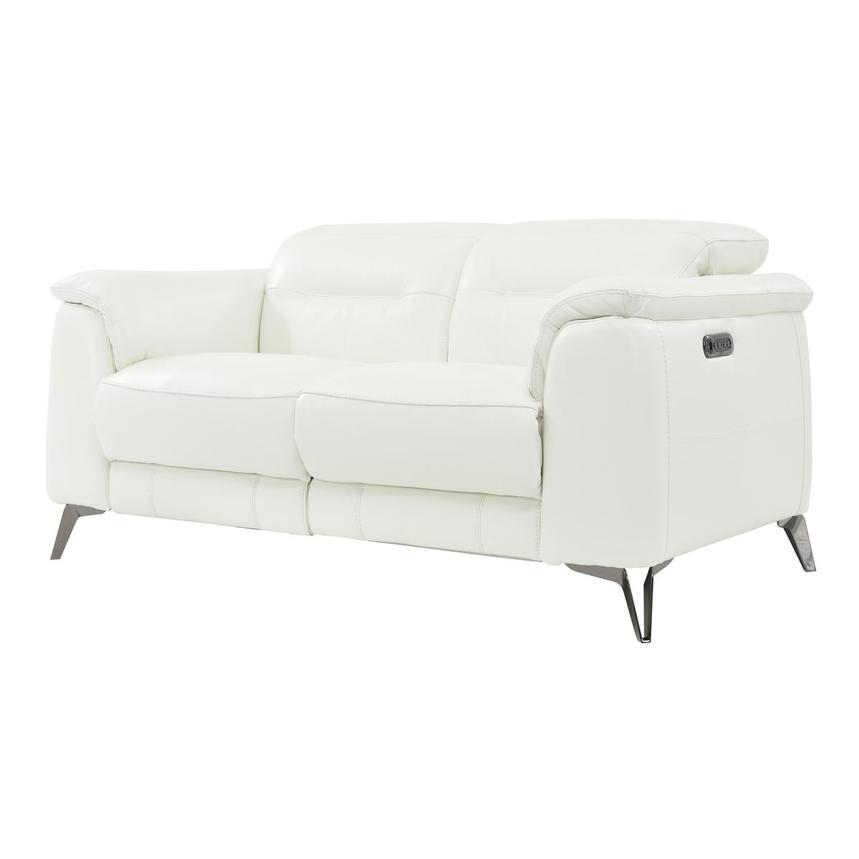 Anabel White Power Motion Leather Loveseat  alternate image, 2 of 8 images.