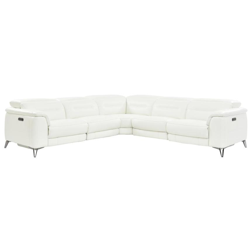 Anabel White Leather Power Reclining Sectional  main image, 1 of 9 images.