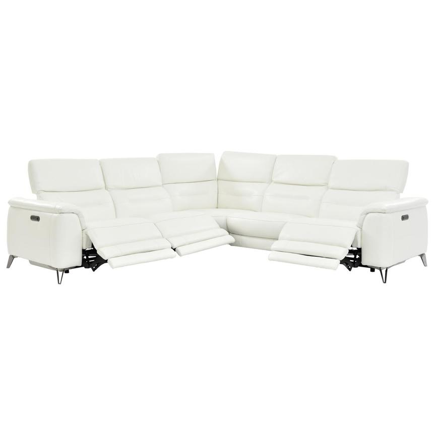Anabel White Leather Power Reclining Sectional  alternate image, 2 of 7 images.