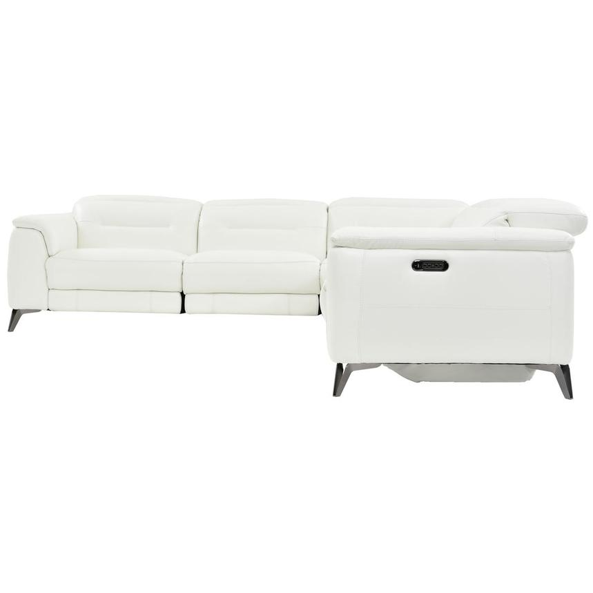 Anabel White Power Motion Leather Sofa w/Right & Left Recliners  alternate image, 3 of 7 images.
