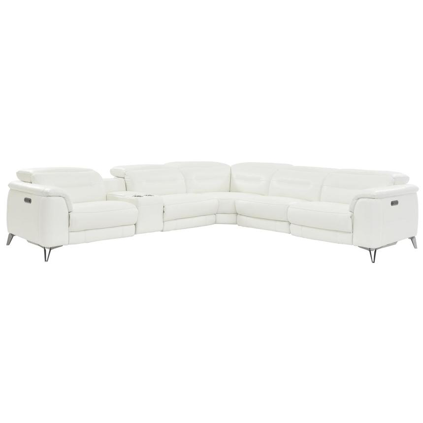 Anabel White Leather Power Reclining Sectional  main image, 1 of 10 images.