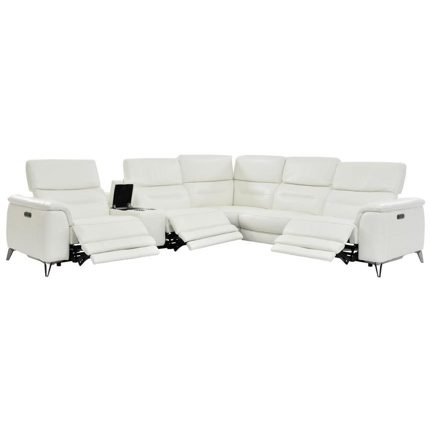 Anabel White Leather Power Reclining Sectional  alternate image, 2 of 8 images.