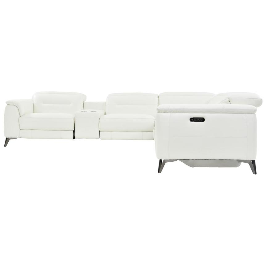 Anabel White Power Motion Leather Sofa w/Right & Left Recliners  alternate image, 3 of 8 images.