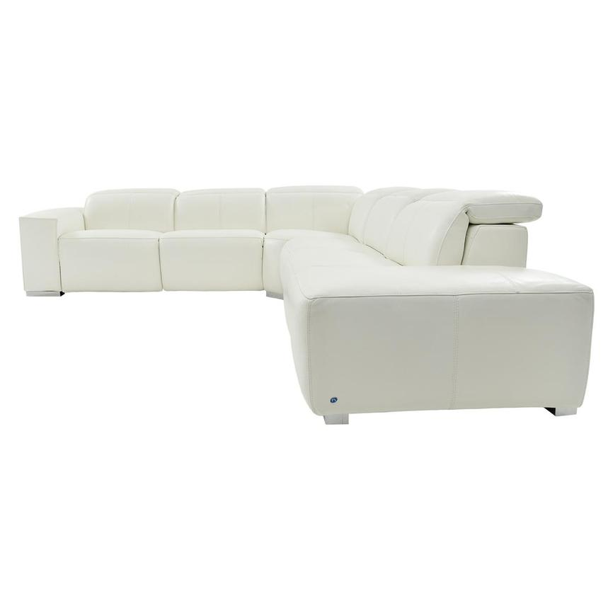 Michelle White Power Motion Leather Sofa w/Right Chaise  alternate image, 3 of 6 images.