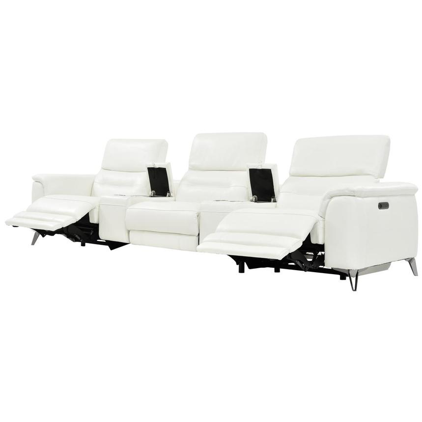 Anabel White Home Theater Leather Seating  alternate image, 3 of 9 images.