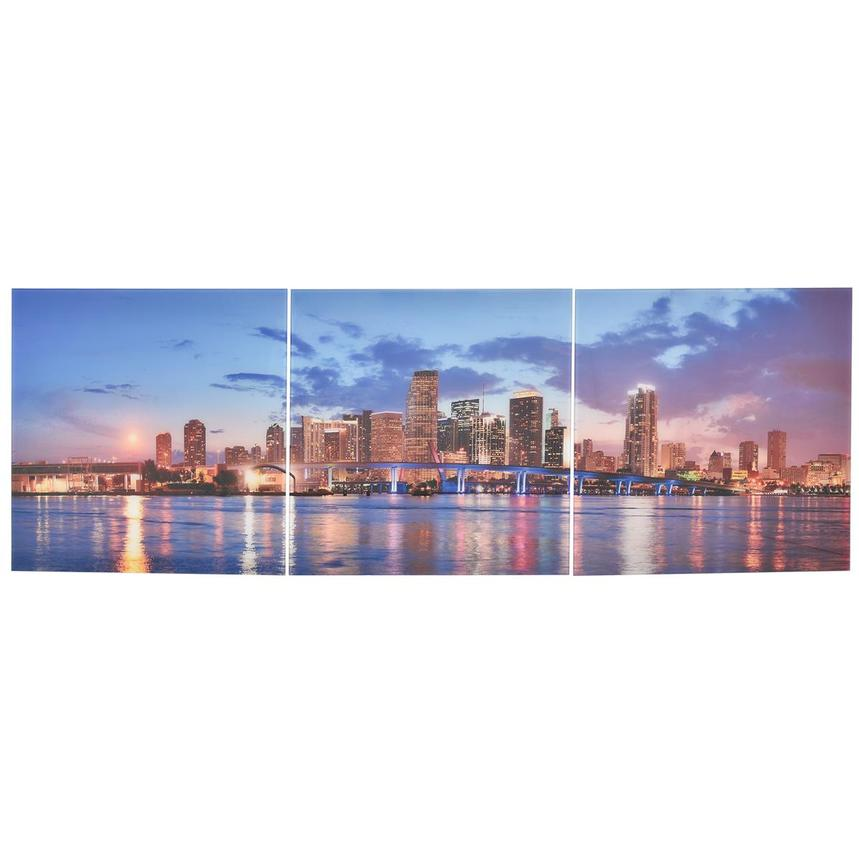 Miami Skyline III Set of 3 Acrylic Wall Art  main image, 1 of 5 images.