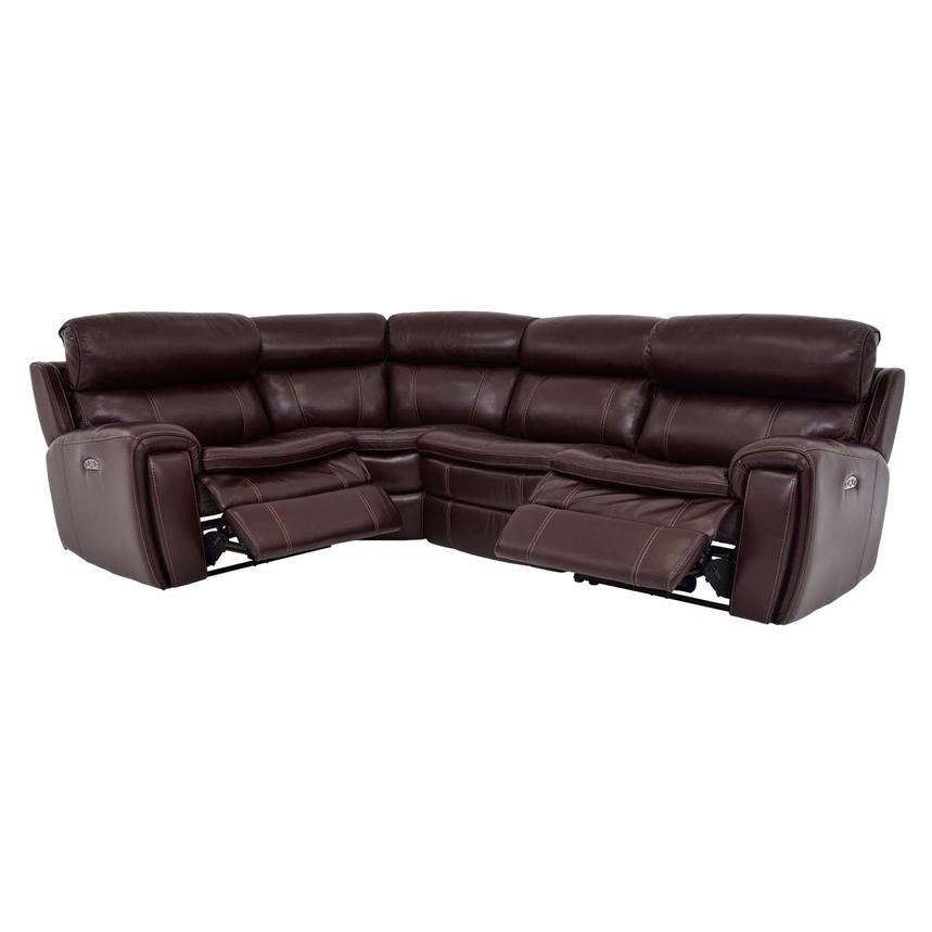 Napa Burgundy Leather Power Reclining Sectional  alternate image, 2 of 6 images.