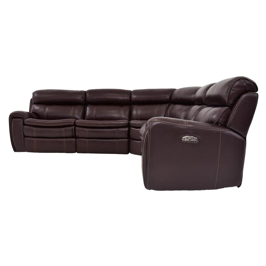 Napa Burgundy Power Motion Leather Sofa w/Right & Left Recliners  alternate image, 3 of 6 images.
