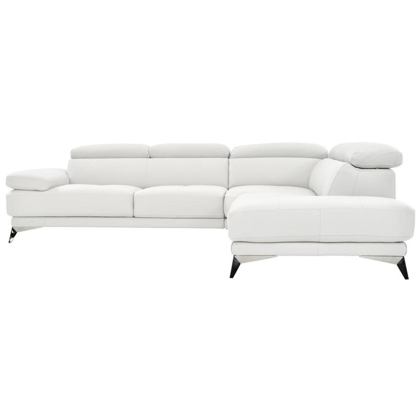 Winner White Leather Sofa w/Right Chaise  alternate image, 3 of 6 images.