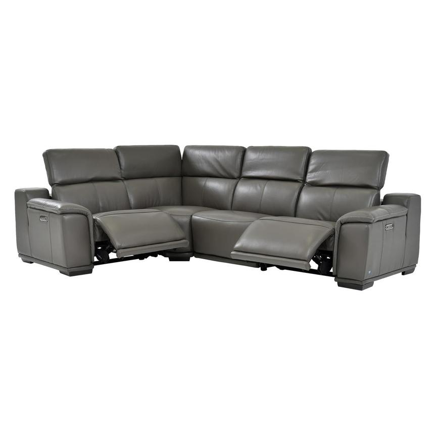 Davis 2.0 Dark Gray Leather Power Reclining Sectional  alternate image, 3 of 8 images.