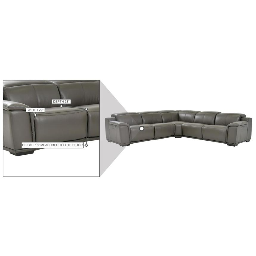 Davis 2.0 Dark Gray Leather Power Reclining Sectional  alternate image, 8 of 8 images.