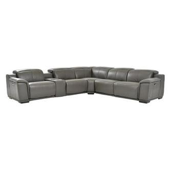 Davis 2.0 Dark Gray Power Motion Leather Sofa w/Right & Left Recliners
