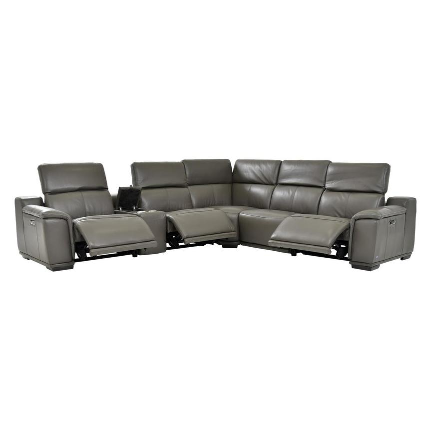 Tremendous Davis 2 0 Dark Gray Leather Power Reclining Sectional Gmtry Best Dining Table And Chair Ideas Images Gmtryco