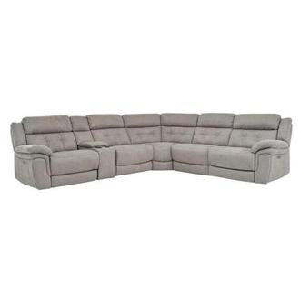 Stallion Ligth Gray Power Motion Sofa w/Right & Left Recliners