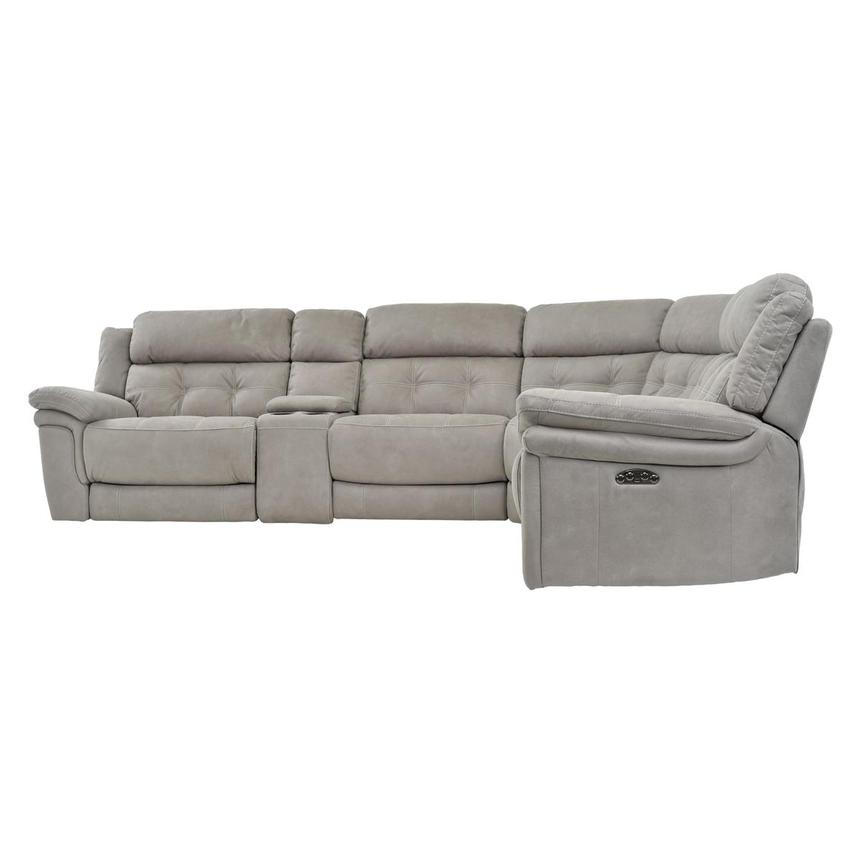 Stallion Ligth Gray Power Motion Sofa w/Right & Left Recliners  alternate image, 3 of 7 images.