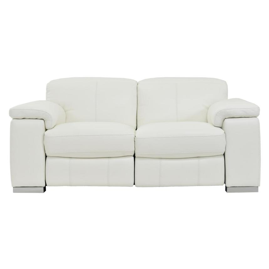 Charlie White Leather Power Reclining Loveseat  main image, 1 of 10 images.