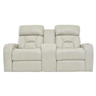 Gio Cream Leather Power Reclining Sofa w/Console
