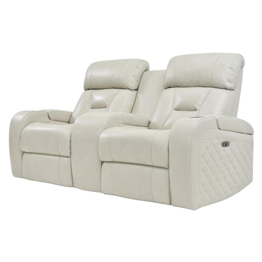 Gio Cream Leather Power Reclining Sofa w/Console  alternate image, 2 of 11 images.