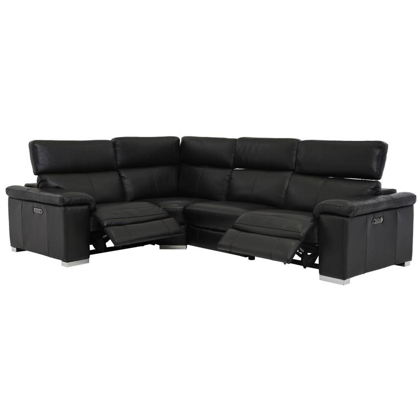 Charlie Black Leather Power Reclining Sectional  alternate image, 2 of 7 images.