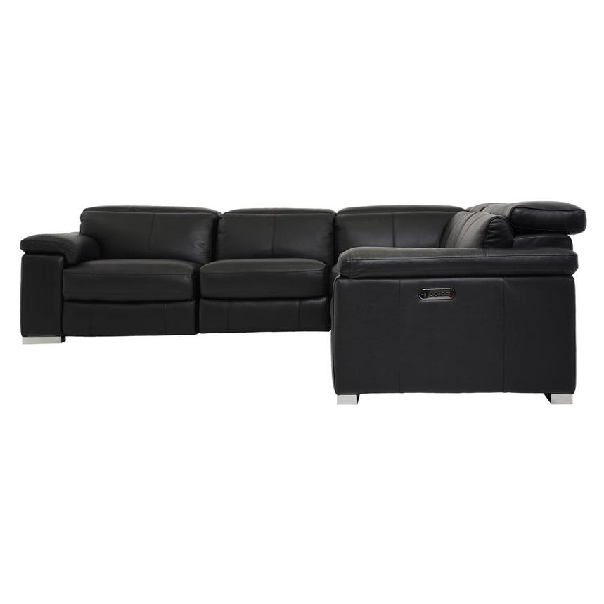 Charlie Black Power Motion Leather Sofa w/Right & Left Recliners  alternate image, 3 of 7 images.
