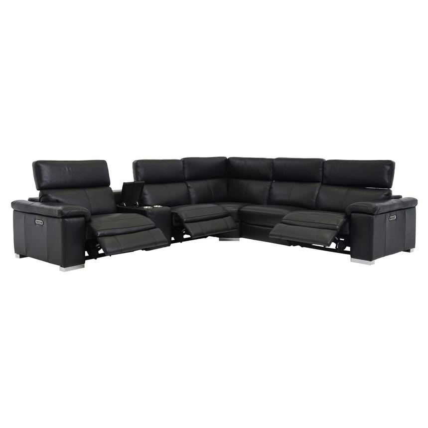 Charlie Black Power Motion Leather Sofa w/Right & Left Recliners  alternate image, 2 of 8 images.