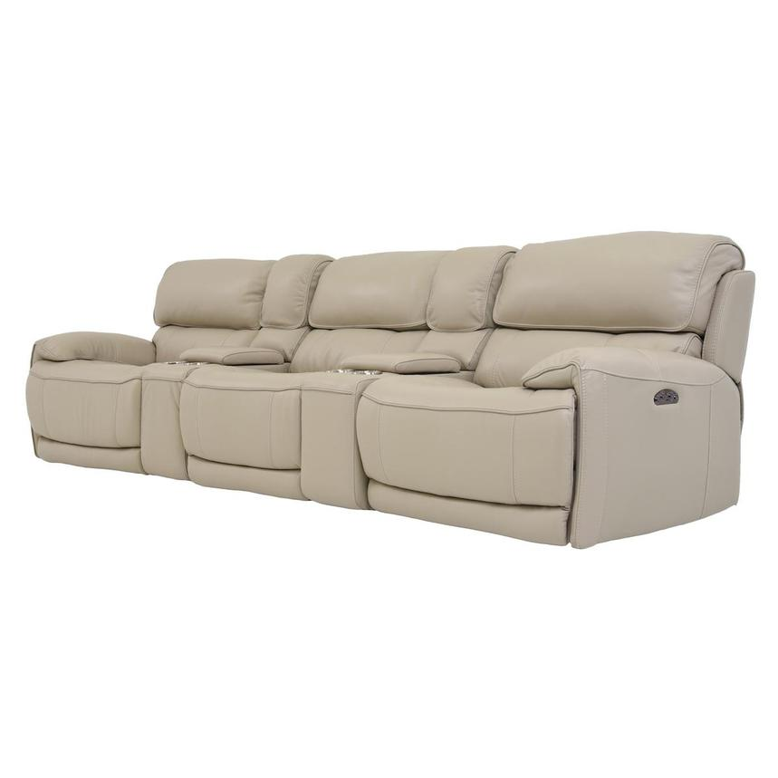 Cody Cream Home Theater Leather Seating w/Right & Left Recliners  alternate image, 2 of 8 images.