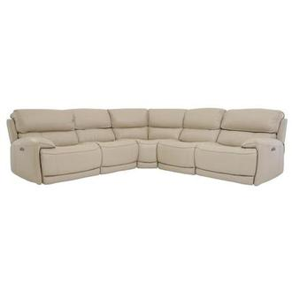 Cody Cream Leather Power Reclining Sectional