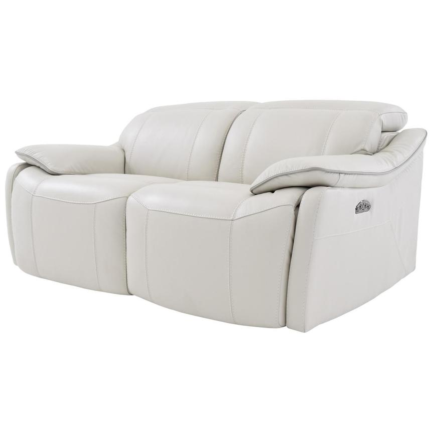 Austin White Leather Power Reclining Loveseat  alternate image, 2 of 6 images.