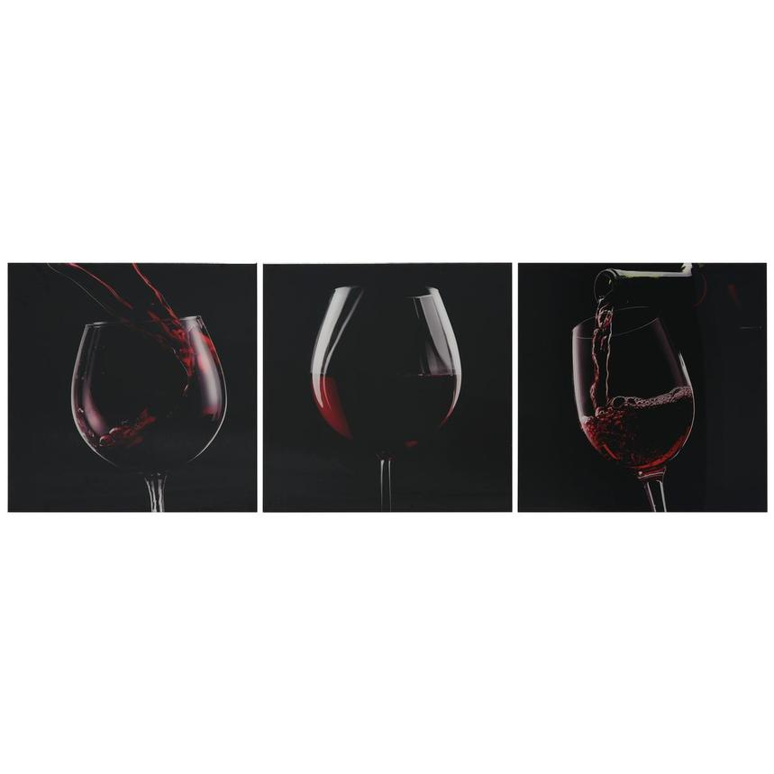 Vino Rosso Set of 3 Acrylic Wall Art  main image, 1 of 4 images.