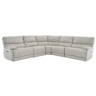 Mumble Gray Leather Power Reclining Sectional