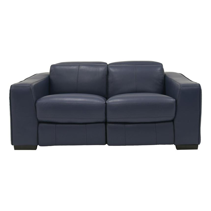 Jay Blue Leather Power Reclining Loveseat  main image, 1 of 9 images.