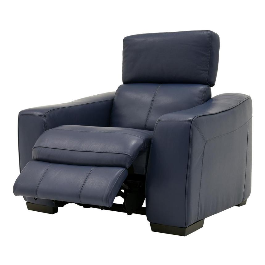 Jay Blue Leather Power Recliner  alternate image, 3 of 9 images.