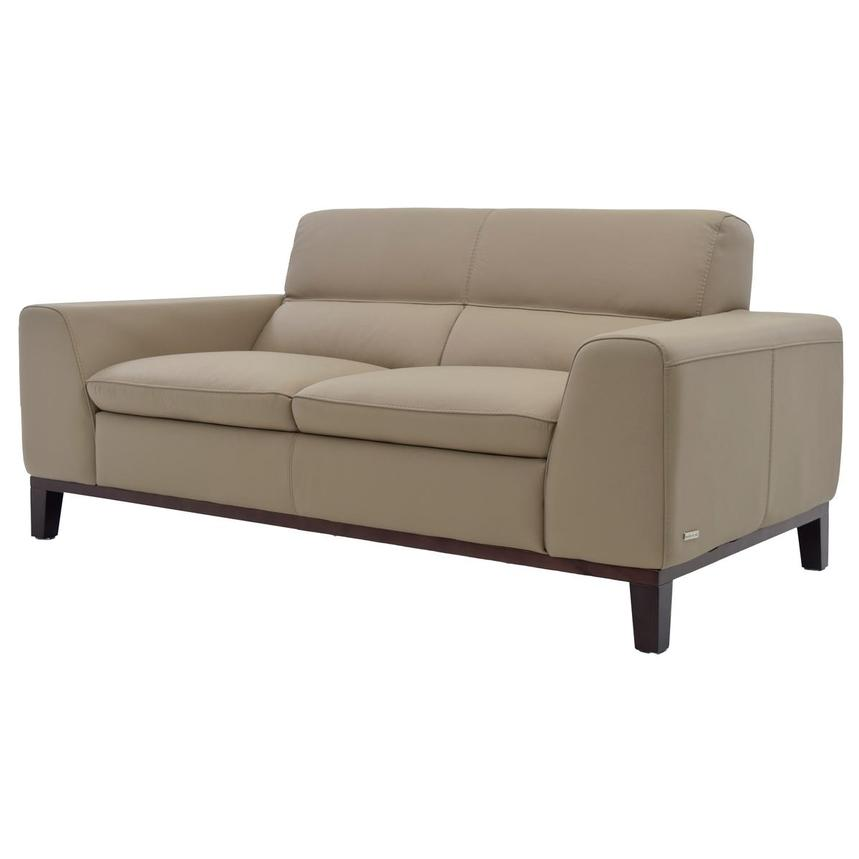Milani Tan Leather Loveseat  alternate image, 2 of 6 images.