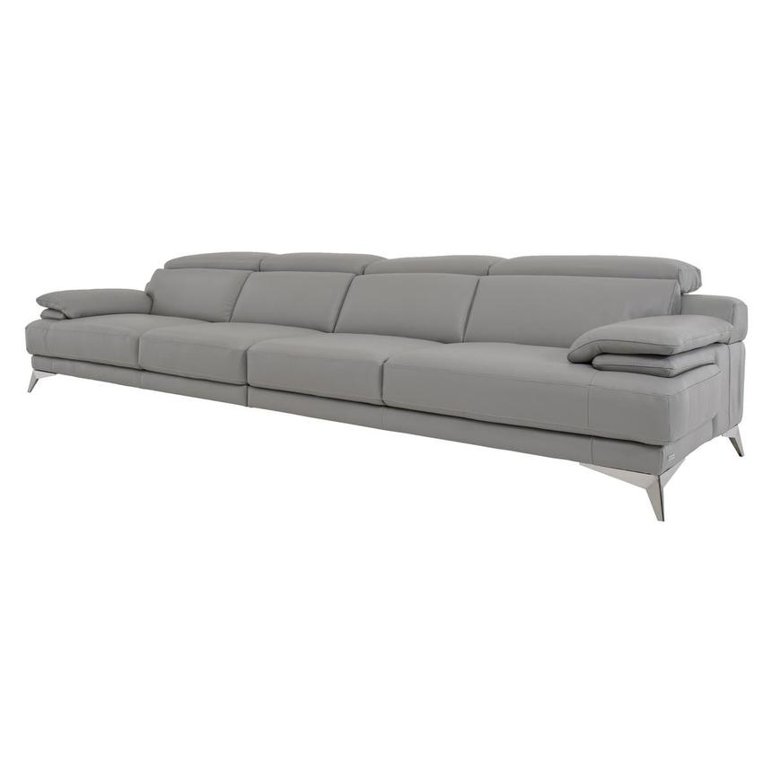Idris Grey Oversized Leather Sofa  alternate image, 2 of 7 images.