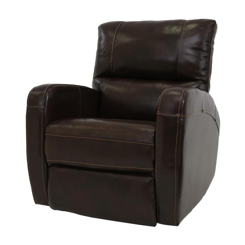 Keegan Chocolate Power Motion Leather Recliner  alternate image, 2 of 7 images.