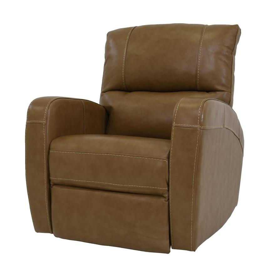 Keegan Tan Power Motion Leather Recliner  alternate image, 2 of 7 images.