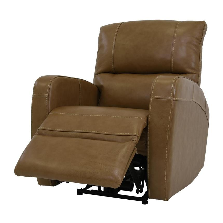 Keegan Tan Power Motion Leather Recliner  alternate image, 3 of 7 images.