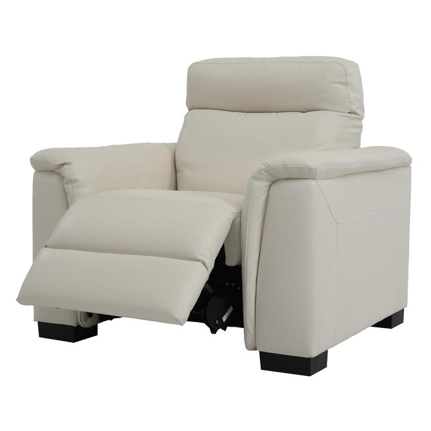 Bari Cream Power Motion Leather Recliner  alternate image, 3 of 7 images.