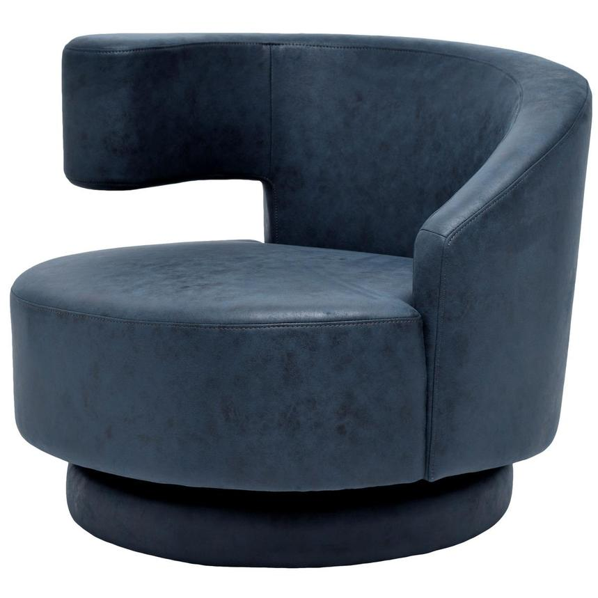 Okru Dark Blue Swivel Chair w/2 Pillows  alternate image, 3 of 10 images.