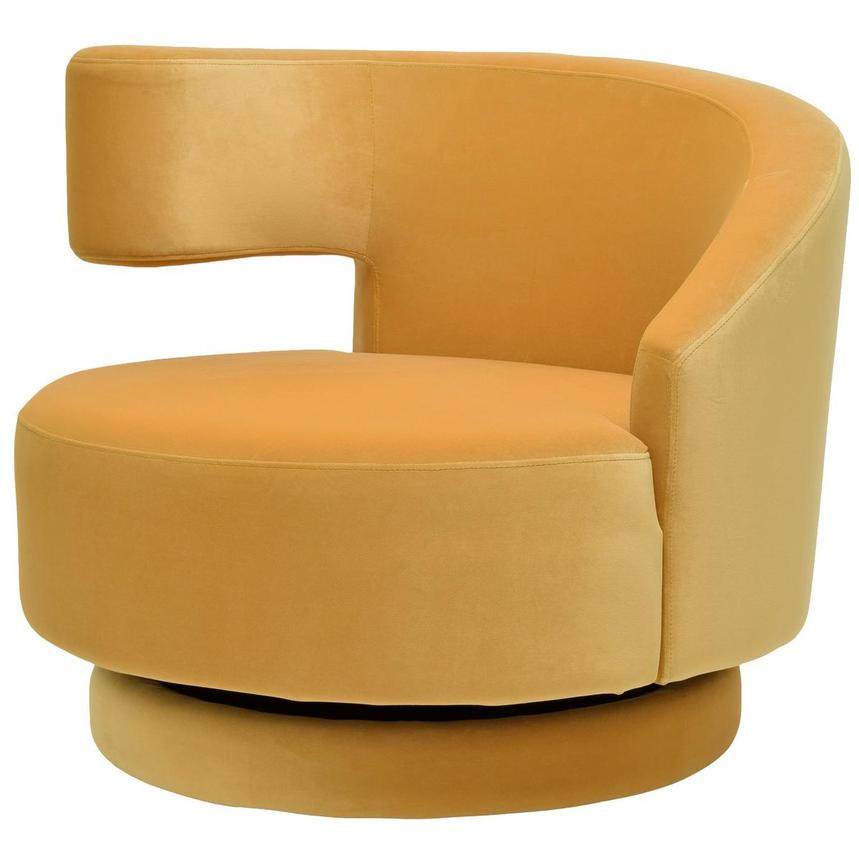Okru Dark Yellow Swivel Chair w/2 Pillows  alternate image, 3 of 10 images.