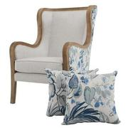 Scarlett Blue Accent Chair w/2 Pillows  main image, 1 of 12 images.