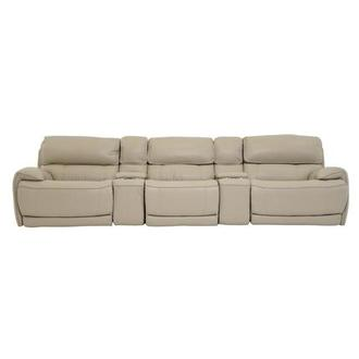 Cody Cream Home Theater Leather Seating w/Right & Left Recliners
