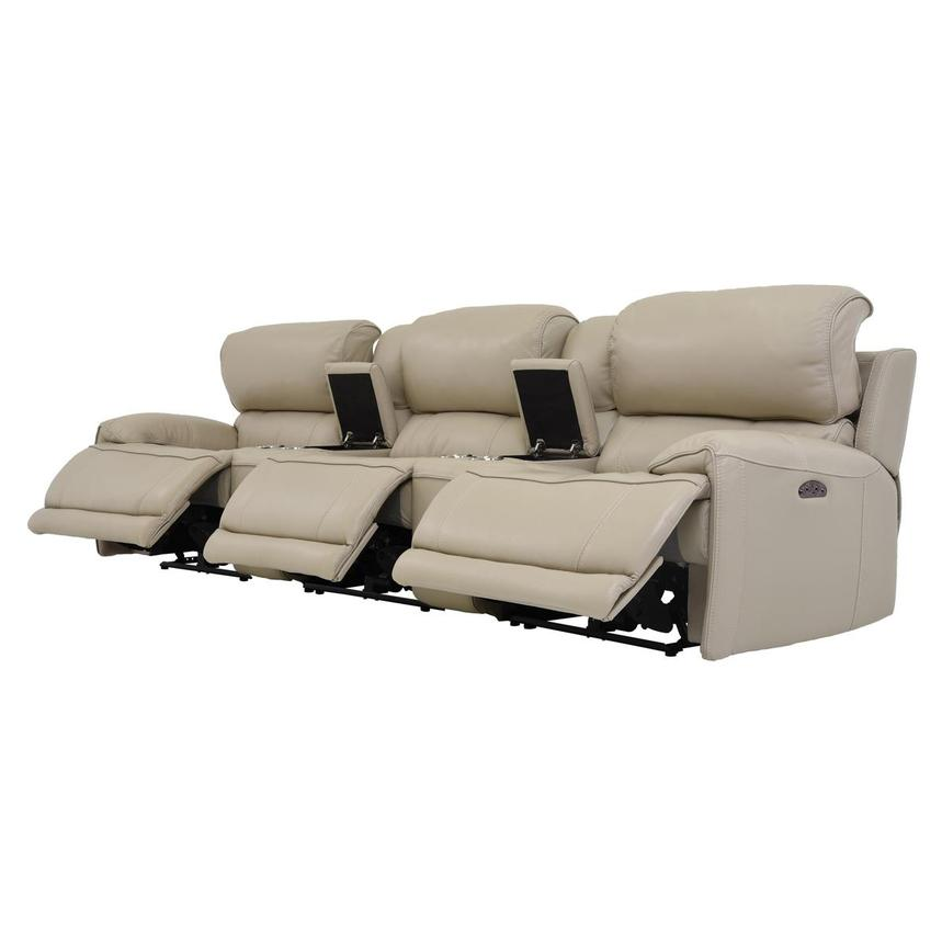 Cody Cream Home Theater Leather Seating w/Right & Left Recliners  alternate image, 3 of 8 images.