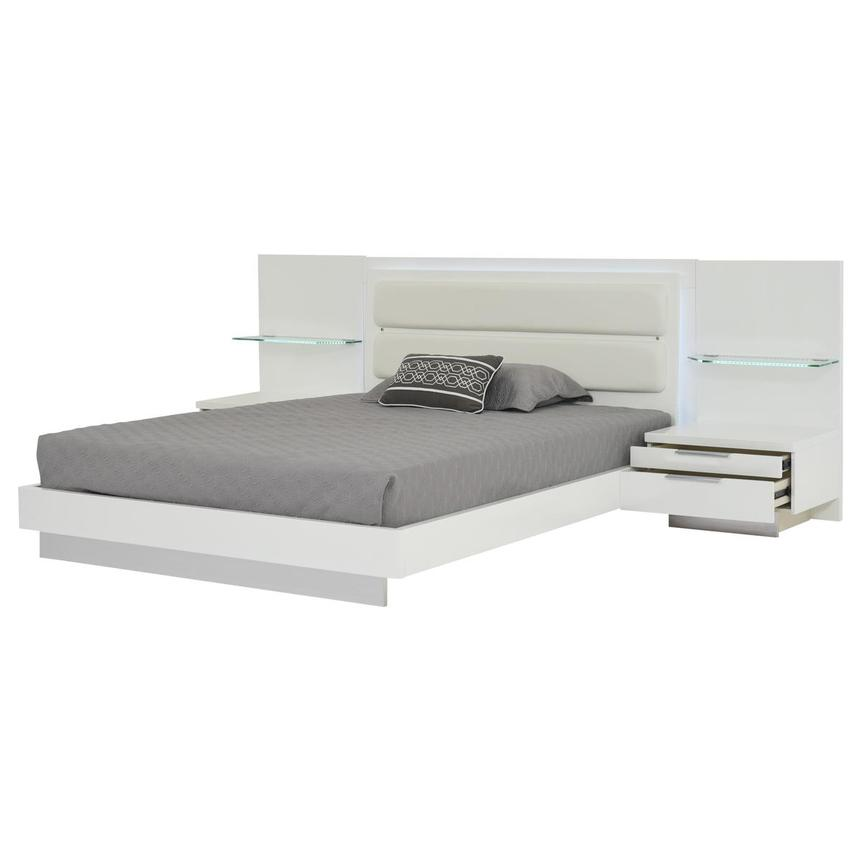 Ally White King Platform Bed w/Nightstands  alternate image, 3 of 16 images.