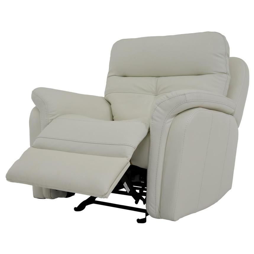 Zane Cream Power Motion Leather Recliner  alternate image, 3 of 9 images.